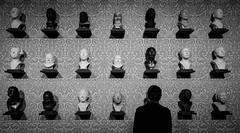 Wall Of Faces (CoolMcFlash) Tags: museum belvedere bnw blackandwhite blackwhite person face art wall candid fujifilm xt2 vienna bw sw schwarzweis gesicht kunst wand wien fotografie photography contrast kontrast surreal xf 1024mm f4 r ois head kopf mann man