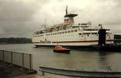 1992 03 28 Duc De Normandie at Cork  (1) (pghcork) Tags: brittanyferries corkharbour cork ringaskiddy ducdenormandie ferry ferries carferry