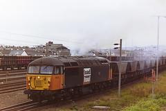 BRITISH RAIL LOAD HAUL LIVERIED 56110 CROFT (bobbyblack51) Tags: british railways class 56 brush type 5 ruston paxman coco diesel locomotive 56110 croft load haul livery falkland yard ayr 1997