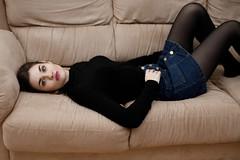 Sofa time (piotr_szymanek) Tags: marcelina portrait studio stockings mini skirt woman lady girl young eyesoncamera hand skinny couch 1k 5k 10k 20f 50f 100f marcelinab 20k