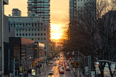 Sunset on Queen ST. (Jackx001) Tags: 02182018 2018 canada downtown february jacknobre ontario photography streets toronto people sunset winter cityhall queen st ufo flag