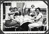 Archiv FaMUC248 Münchner Familie, 1940er (Hans-Michael Tappen) Tags: archivhansmichaeltappen kaffee kaffeetisch tisch geschirr tasse teller tischdecke stuhl stühle outdoor fotorahmen hund dog mädchen kleidung erwachsene schnauzbart familienfoto 1940s 1940er kaffeekanne kanne kaffeetasse blumenkranz outfit