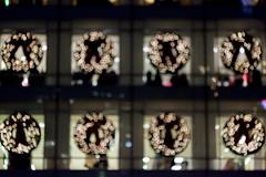Macy's (Jeremy Brooks) Tags: bokeh california lights macys night sanfrancisco sanfranciscocounty usa unionsquare wreath christmas