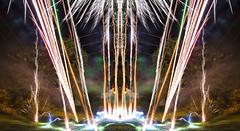 Fire Fountain (Matt Molloy) Tags: mattmolloy timelapse photography timestack photostack digitallymirrored fireworks sparks lights fountain smoke fire backyard grass trees telephonelines symmetrical fun lovelife
