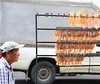 Dried squids (Robyn Hooz) Tags: stockfish driedfish ambulante thailandia hat cappello venditore ruota wheel market thai calamari