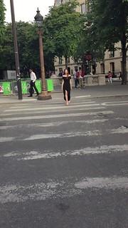 Lovely Elise, Crossing a Street in Paris