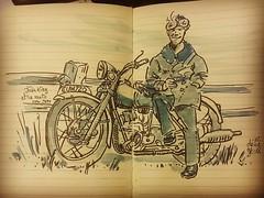 John King et sa moto pour JKPP ... #sketch #portrait #moto (dege.guerin) Tags: instagramapp square squareformat iphoneography uploaded:by=instagram hefe