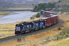 Thundering along the Yellowstone (Moffat Road) Tags: montanaraillink mrl manifestfreight freighttrain sd45 emd 351 river mrlsecondsub mrl2ndsub elton montana yellowstoneriver mt springdale
