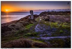 ''The Nob at dawn'' (marcbryans) Tags: portlanddorset uk quarrying wideangle east rock skyline outdoors sunflare sunrise seascape stone dawn horizon landscape coast colours boat nikond500 nikkor1755mmf28