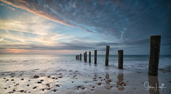 2017 - 12-28 - Landscape - Moana - Sunset 04.jpg (stevenlazar) Tags: pylons beach ocean sunset australia colour water moana waves jettyruins adelaide 2017 southaustralia clouds