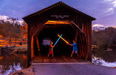 The Battle of Watson Mill Bridge (Jon Ariel) Tags: starwars watson bridge northgeorgia georgia ga wooden light lightsaber mill