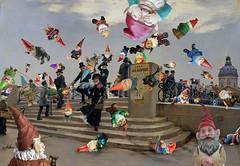 """Gnome Parkour"" (barry.kite@att.net) Tags: gnomes gardengnomes beraud parkour collage parody humor funny weird strange"