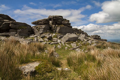 Granite Landscape (Christian Hacker) Tags: belstonetor dartmoor granite landscape views nationalpark uk moorland rocks stone grass bluesky sunny whiteclouds outcrops hiking hike outdoors outdoor walk canon eos50d tamron 1750mm nature wilderness geology