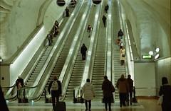 < retro on escalator > (Mister.Marken) Tags: nikonfg nikkor50mm digibasec41 kodakcolor db expiredfilm phototgraphedinsweden underground