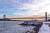 "George Washington Bridge (between NJ and NY) in Arctic Freeze Period Sunset ""Magic Hour"" (takegoro) Tags: bridge georgewashington newyork newjersey hudsonriver winter ice snow ""magic hour"" sunset ""ross dock"" ""golden"