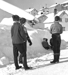 The start of the snow tunnel (theirhistory) Tags: boy child kids snow road street drift hat jumper trousers wellies jacket boots