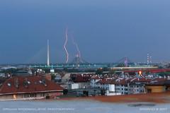 20170806-2001 (srkirad) Tags: lightning lightnings dusk evening summer storm stormy dull cloudy daylight bridge adabridge belgrade beograd serbia srbija travel