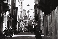 somewhere in Istanbul (n.okyayli) Tags: canont70 blackandwhite people monochrome bw istanbul film kodak road 35mm