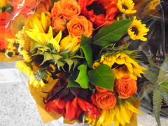 DSC03035 (classroomcamera) Tags: grocery groceries flower flowers bouquet bouquets fall autumn color colors bright sun sunflower orange yellow green red warm display shop buy buyer shopper shopping buying browsing looking smell scent