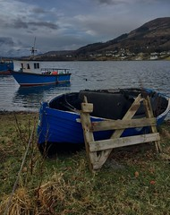 Blue (Andy Magee) Tags: vessel boat skye iphone scotland colours blur fishingboat maritime marine transport transportation landscape portree