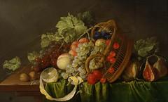 Still Life with a Basket of Fruit (c. 1654) (Animus Mirabilis) Tags: dutch painting art cornelisdeheem 17thcentury stilllife basket fruit grapes lemon fig cloth