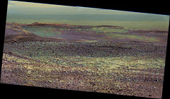 Dark Dunes in the Distance, variant (sjrankin) Tags: 20january2018 edited nasa mars bayerdecoded colorized msl curiosity galecrater output panorama sanddunes terrain