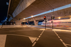 Left lane must exit (Andrew_Dempster) Tags: southroadsuperway trafficlight nightshot wingfield australia urbanlandscape nightphotography longexposure southaustralia sa urban southroad southroadoverpass cartrails concrete nightscape night au