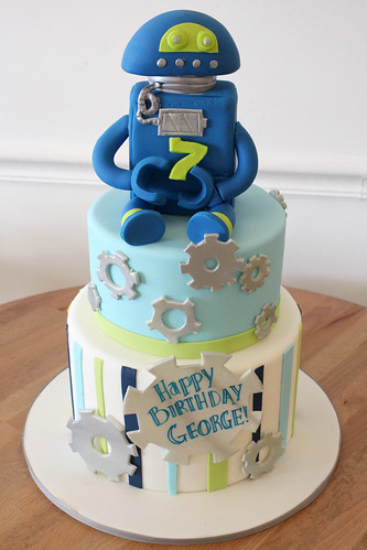 Gears and Robot Birthday Cake