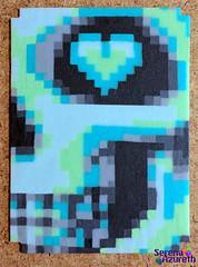 SerenaAzureth_ATC_NeonSkullMintandGrey2 (SerenaAzureth) Tags: serenaazureth perler hama bead sprite mini atc artist trading card pixel swap bot swapbot skeleton skull bones halloween neon mint grey gray heart