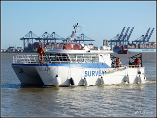 Survey Boat 'Lia' going into Shotley Marina
