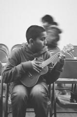 ukulele player (janette_j) Tags: ukulele player black white ektar 100 nikon n65 victory outreach ogden