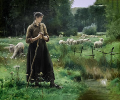 'Peasant Girl With Sheep' by Julien Dupre (Greatest Paka Photography) Tags: art artist juliendupre french peasant rural realism nature light legionofhonor sanfrancisco museum grazing normandy painting