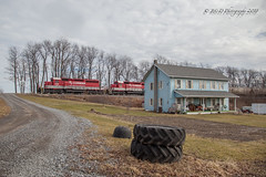A 1:1 Scale Backyard Railroad (Darryl Rule's Photography) Tags: 2018 csx cresson cressonsub diesel diesels emd ebensburg february ge grain helpers loaded loads loretto ns pa prr pennsy pennsylvania pennsylvaniarailroad pushers rjcorman railroad railroads sd402 shortline sun sunny train trains winter