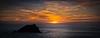Pentire sunset (paullangton) Tags: cornwall sunset sky blue water sea sun beach coast rock red seascape canon newquay golden