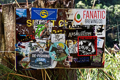 De-Fish the Fanatic (AGrinberg) Tags: hawaii 63317stickersign sticker sign kauai napali hike coast defishing fanatic