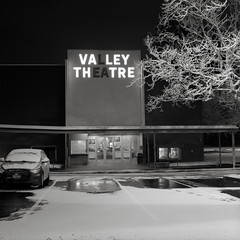 Valley Theater, Beaverton, Oregon (austin granger) Tags: valleytheater beaverton oregon night sign snow winter parkinglot film movietheater cinema square gf670