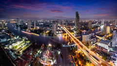 Bangkok city skyline at dusk, Bangkok Thailand (Patrick Foto ;)) Tags: apartment architecture asia asian bangkok blue building business city cityscape clouds condominium district downtown dusk evening famous front grass high hotel landscape light logistic modern night office panorama panoramic park place pool port reflection residence river road roof shadow sky skyline skyscraper street symmetric thailand tower town trail travel tropical urban view waterfront way krungthepmahanakhon th