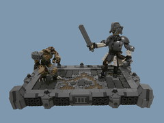 TTR3: The Duel (Dan The Imposter) Tags: lego duel knight goblin floor sword armour pauldron broken helmet figures large tourney chains npu commander yoats