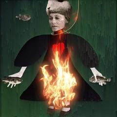 This girl is on fire 🎶 (lorenka campos) Tags: grief expressionism conceptual iphoneart darkart artdigital selfportrait portrait videoart modernart art onfire video