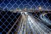 Quitman Street walkway bridge in Houston , Texas (Jay Dee Texas) Tags: skyline houston texas afterdark nightlife skyscraper i45 fences night city