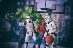 Its Streetball time, Star Wars VS Marvel (jezbags) Tags: streetball time starwars vs marvel hulk spiderman stormtrooper stormtroopers trooper troopers basketball ball macro macrophotography macrodreams canon canon80d 80d 100mm closeup upclose toy toys actionfigure