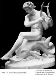 Ernest-Eugène Hiolle (1834-1886) - Arion assis sur un dauphin (1870) (ketrin1407) Tags: hiolle arion dolphin lyre statue sculpture nude naked sensual erotic mythology 19thcentury blackandwhite monochrome blackbackground