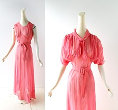1930s coral pink chiffon nightgown and jacket (Small Earth Vintage) Tags: smallearthvintage vintagefashion vintageclothing lingerie 1930s 30s coralpink chiffon nightgown gown jacket belt