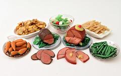 Roast Beef Dinner & Ham Dinner (MurderWithMirrors) Tags: miniature food meal salad potatoesaugratin frenchfries carrots stringbeans greenbeans roastbeef ham polymerclay handmade mwm 16