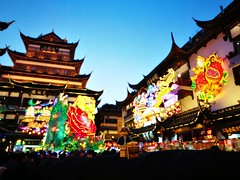 Travels of badger - Enjoying all the lights to celebrate the 2018 Year of the Dog in the City God Temple in Shanghai (enigmabadger) Tags: lego brickarms minifig mini figure toy travel china chinese asia vacation expatriot new year lunar spring festival shanghai