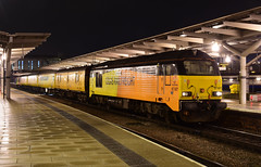 1Q56 67027 TNT 67023 Derby RTC to Derby RTC at Derby Station (Iain Wright Photography) Tags: plpr colas rail freight colasrail network stella charlotte class67 67023 67027 derby rtc station midlands 1q56 circular test cars train railway night photography nikon lighting cable release yellow orange black mark 1 2