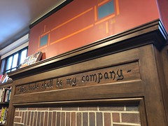 """My books shall be my company"" (Melinda Young Stuart) Tags: books📚 berkeley fireplace wood mantel design carved legend library shakespeare tamingoftheshrew reading"