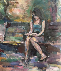 Reading in the shade (Captain Wakefield) Tags: oil burton samuel park reading girl woman figurative modern contemporary impressionist painting art people sit sitting seated