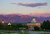 Reddish mountains behind the Council Hall at sunset, Salt Lake City (Andrey Sulitskiy) Tags: usa utah saltlakecity
