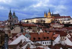 Prague Rooftops (JH Images.co.uk) Tags: prague hdr dri night praguecastle rooftops city cityscape citiscape czech church bluehour sky clouds